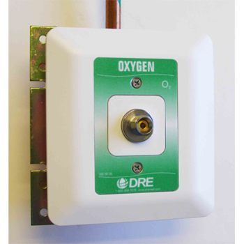 Oxygen Connector,Male DISS recessed wallmount