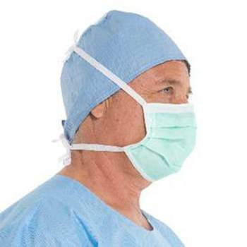 MASK,SURGICAL,ANTI FOG,PLEATED,TIE,GRN,50 EA/BX