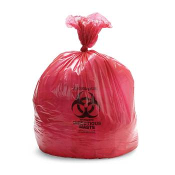 LINERS,BIOHAZARD,LOW DENSITY,RED,4GAL,500/CASE
