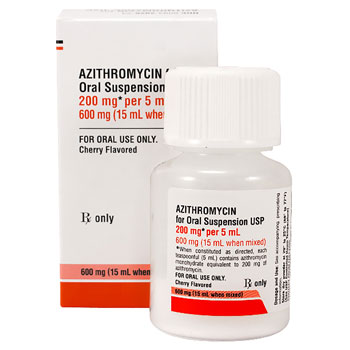 RX AZITHROMYCIN 200MG/5ML, 15ML