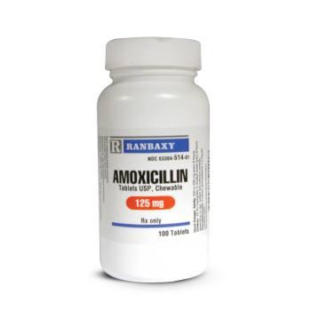 RX AMOXICILLIN 125MG, 100 CHEWABLE TABS