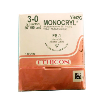 SUTURE,MONOCRYL,3-0,FS-1,12/BX