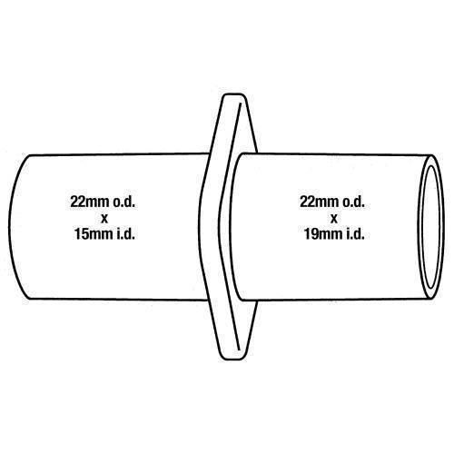 Anesthesia, hose adaptor, 22mm/15mm x 22mm OD