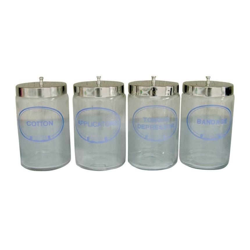 Jar, glass sundry, unlabeled, set of 5