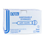 SYRINGE,3CC 27 X 1 1/4, LL, 100/BOX, EXEL