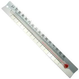 RED-FILLED THERMOMETER W/METAL BACK, C,EA
