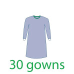 GOWN,SURGICAL,STERILE W/TOWEL,SMALL,30/CASE