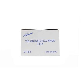 Mask, surgical 3 ply w/ ties, 50/bx, 6bx/case