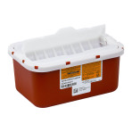 SHARPS CONTAINER, 1 GALLON, WALL-MOUNTED, WITH FLAB, RED, EACH