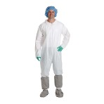 COVERALL, BREATHABLE, ELASTIC, WHITE, LARGE, 25/CS