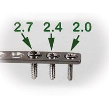 2.4MM x 20MM TITANIUM CORTICAL SELF-TAPPING SCREWS