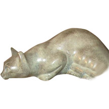 Urn,Crouching cat urn-Patina