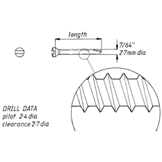 Screw, self tapping, 2.7mm x 44mm, 6pk