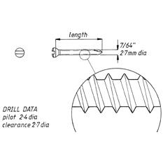 Screw, self tapping, 2.7mm x 57mm, 6pk