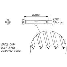 Screw, self tap, 3.5mm x57mm,6pk,cruciate