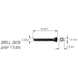 Screw, sancellous, 2.2mm screw, 20mm length