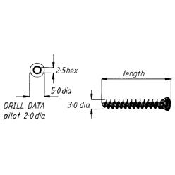 Screw, cancellous, 3mm, 14mm length