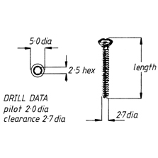 Screw, cortical, self-tapping, 2.7mm x 40mm