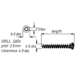 Screw, cancellous, fully threaded, 4.0 16mm,6pk