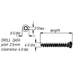 Screw, cancellous, fully threaded, 4.0 28mm,6pk