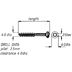 Screw, lag cancellous, 4mm x22mm, each
