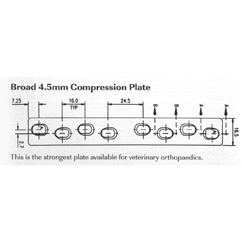 Plate, broad compression, 4.5mm 199mmL