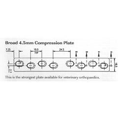 Plate, broad compression, 4.5mm 215mmL