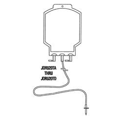 Bag, blood transfusion 600ml, 2 ports w/ tubing, sterile