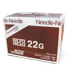 """NEEDLE,22gX 1 1/2"""",BD,100/BX"""
