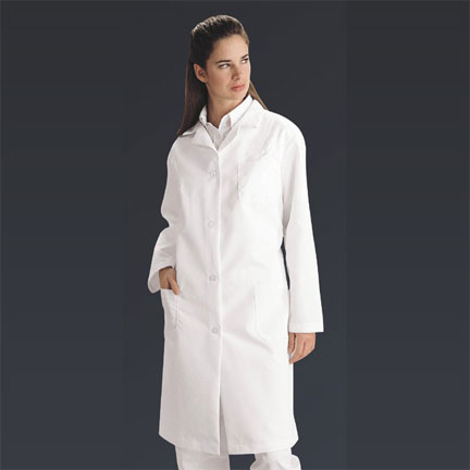 Ladies Full Length Lab Coat, White, Small, Each