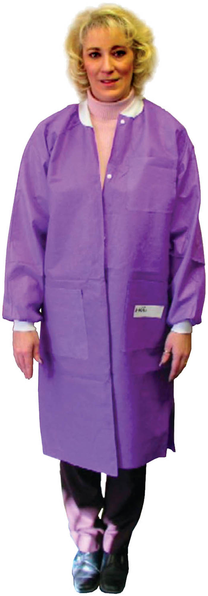 Disposable Lab Jacket. Hip length. Teal Green. X-Large.