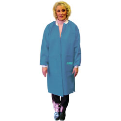 Disposable Lab Coat. Knee length. Teal Green. Small.