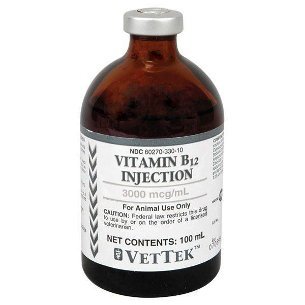 RXV VITAMIN B12 INJ (VET) 3000MCG, 100ML VET LABEL