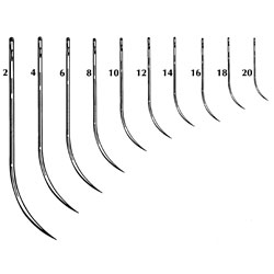 Half Curved Triangular Suture Needle, Cutting edge, Size 2, 12/pk