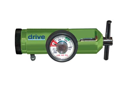 Oxygen Mini Regulators with Liter Adjustment and Various Connection Styles, Green, Adult Size