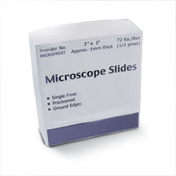 SLIDE,MICROSCOPE,FROSTED,72/BOX