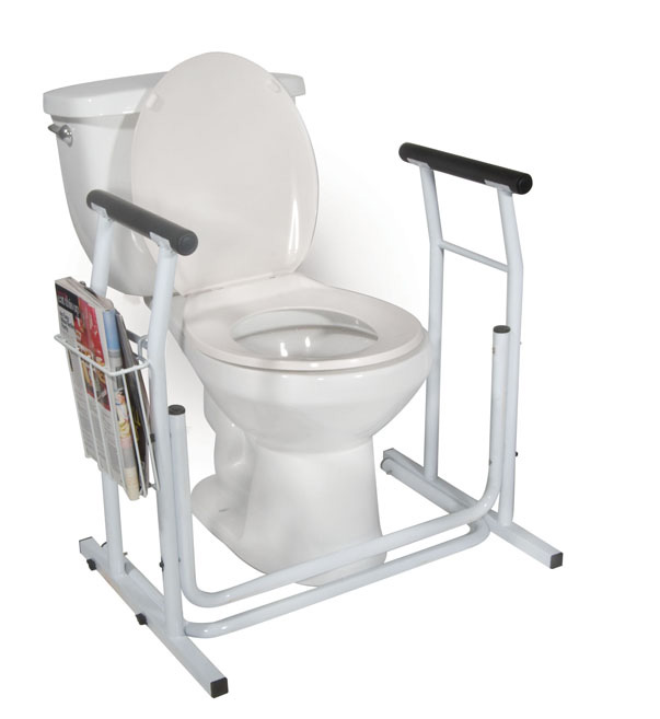 Stand Alone Toilet Safety Rail White Standard Size