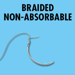 Braided non-absorbable Suture  2 No Needle Each