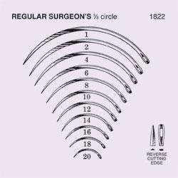 NEEDLE,SUTURE,NON-STRL,REG SURGEON'S 3/8 CIRCLE REV CUTTING EDGE,SZ 10,12/PK
