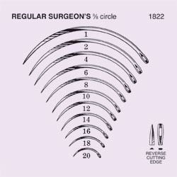 NEEDLES,SUTURE,STRL,REGULAR SURGEON'S 3/8 CIRCLE REV CUTTING EDGE,SZ 4,40/BX