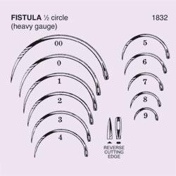 NEEDLE,SUT,NON-STRL,FISTULA NEEDLE,1/2 CIRCLE REV CUTTING EDGE,SZ 0,12/PK