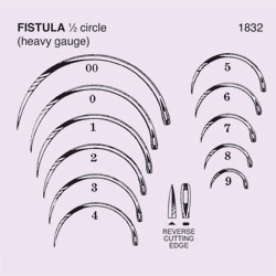 NEEDLE,SUT,NON-STRL,FISTULA NEEDLE,1/2 CIRCLE REV CUTTING EDGE,SZ 4,12/PK