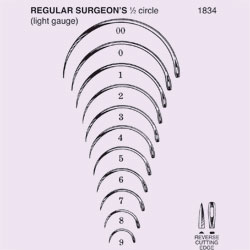 NEEDLE,SUT,NON-STRL,REGULAR SURGEONS,1/2 CIRCLE REV CUTTING EDGE,SZ 9,12/PK