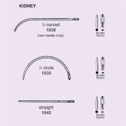 NEEDLE,SUT,STRL,KIDNEY, 1/2 CIRCLE BLUNT POINT,SIZE ,40/BX