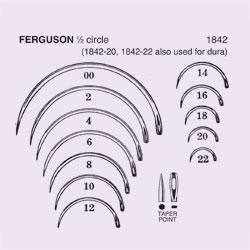 NEEDLE,SUT,STRL,FERGUSON, 1/2 CIRCLE TAPER POINT (ROUND BODY),SIZE 16,40/BX