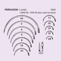 NEEDLE,SUT,STRL,FERGUSON, 1/2 CIRCLE TAPER POINT (ROUND BODY),SIZE 22,40/BX