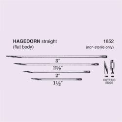 NEEDLE,SUT,NON-STRL,HAGEDORN, STRAIGHT CUTTING EDGE,SIZE 2.5,12/PK