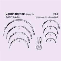 NEEDLE,SUT,NON-STRL,MARTIN UTERINE,1/2 CIRCLE REV CUTTING EDGE,SZ 1,12/PK