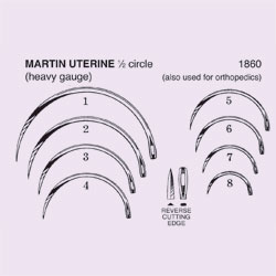 NEEDLE,SUT,STRL,MARTIN UTERINE, 1/2 CIRCLE REVERSE CUTTING EDGE,SIZE 7,40/BX