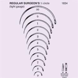 NEEDLE,SUT,STRL,REGULAR SURGEONS 1/2 CIRCLE REVERSE CUTTING EDGE,SZ 10,40/BX